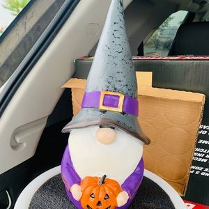 Halloween gnome pairs with Rae Dunn